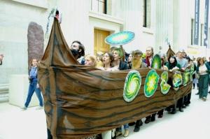 Viking longship in British Museum (2) by Hugh Warwick