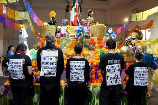 London-Mexico Solidarity group protest during last year's Day of the Dead event in Bargehouse. Credit: LMS