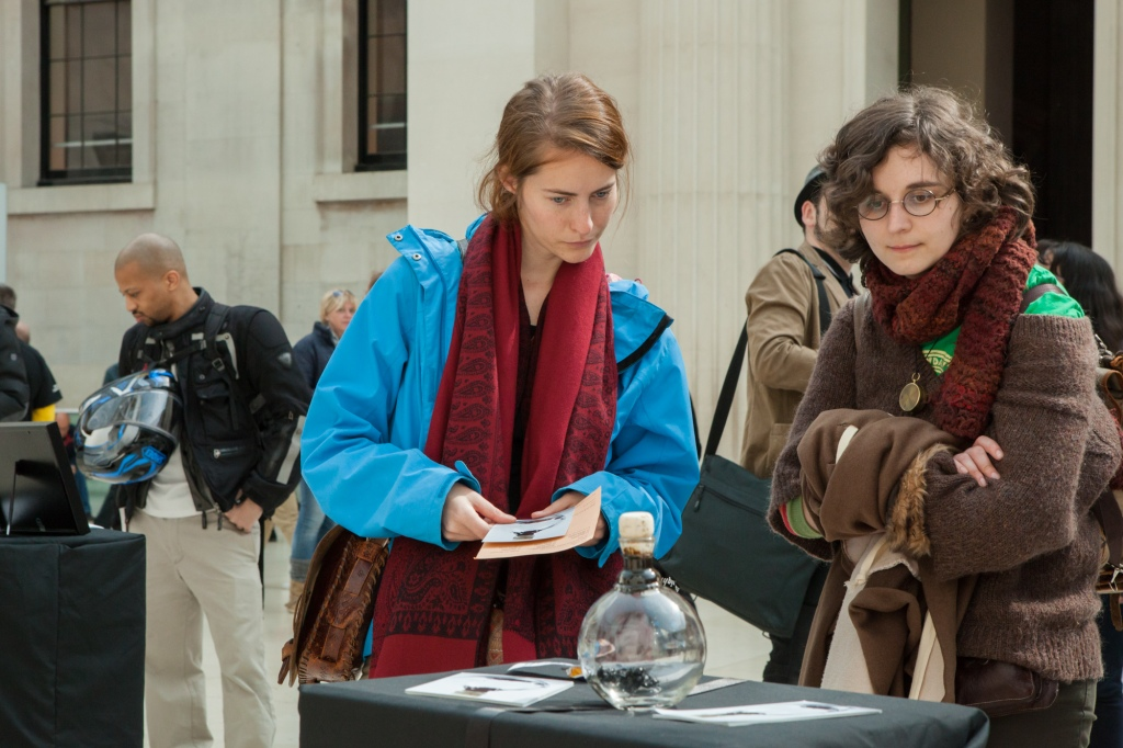 A rebel exhibition in the Great Hall of the British Museum, held on the 3rd of April 2016. Bringing together 10 objects from communities around the world that are negatively impacted by BP's operations, asking the question, ' Should the British Museum be in partnership with such a toxic brand?'.