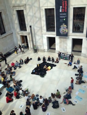 Performers are joined by Quakers and members of Dharma Action Network for Climate Engagement to recreate the mourn the Deepwater Horizon spill, in the British Museum.