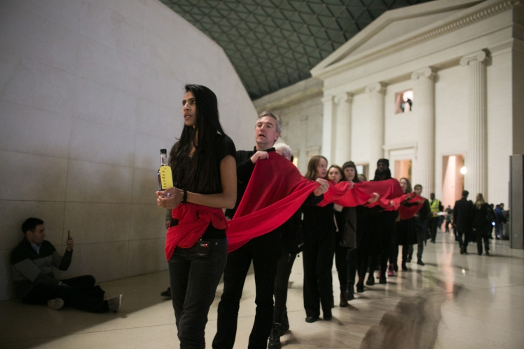 Climate Activists Stage A Performance At The British Museum In Protest Against The Oil Company's Sponsorship Of the Museum