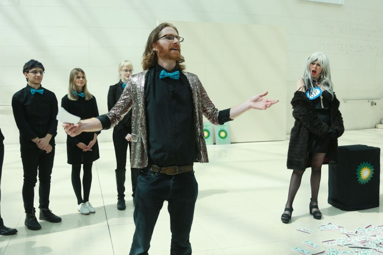 Climate activists perform an anti-BP sponsorship play at the British Museum