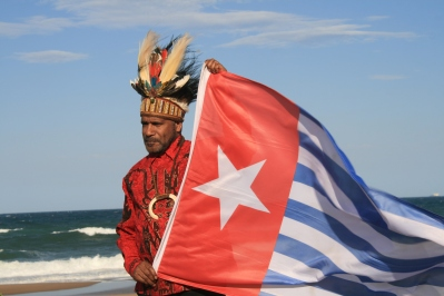 Benny Wenda and Morning Star flag